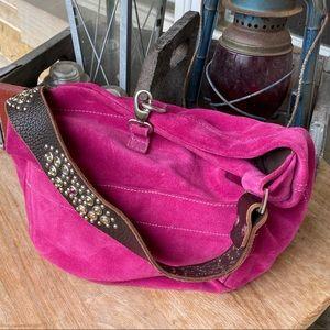 Tylie Malibu Fuchsia Suede Hobo Bag Crystal Strap